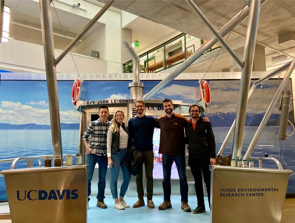 graduate students aboard a vessel in Lake Tahoe UC Davis