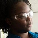 Studetnt wearing safety glasses
