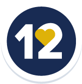 icon of number 12 with a heart