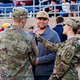 veterans talking in the stadium