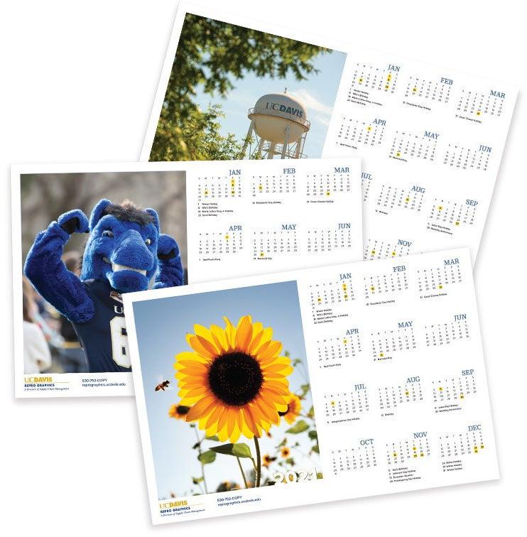 Calendar samples with UC Davis images