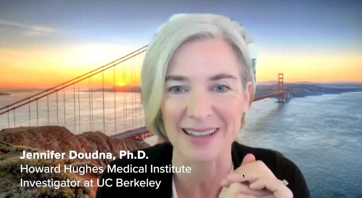 Woman speaking, in screenshot from webinar