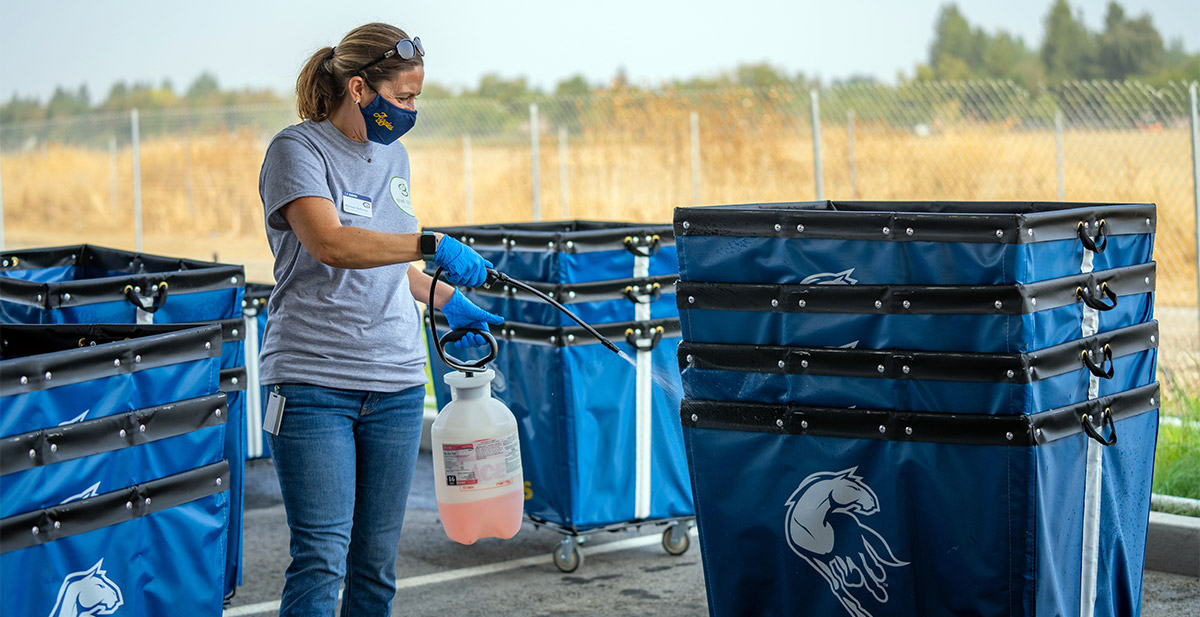 Woman sprays disinfectant on move-in carts