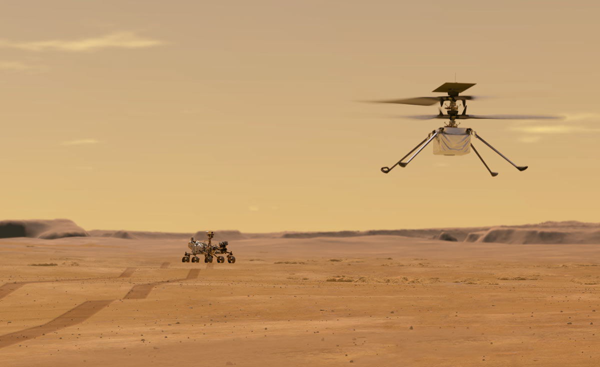 NASA rendering of Perseverance helicopter Ingenuity in the air