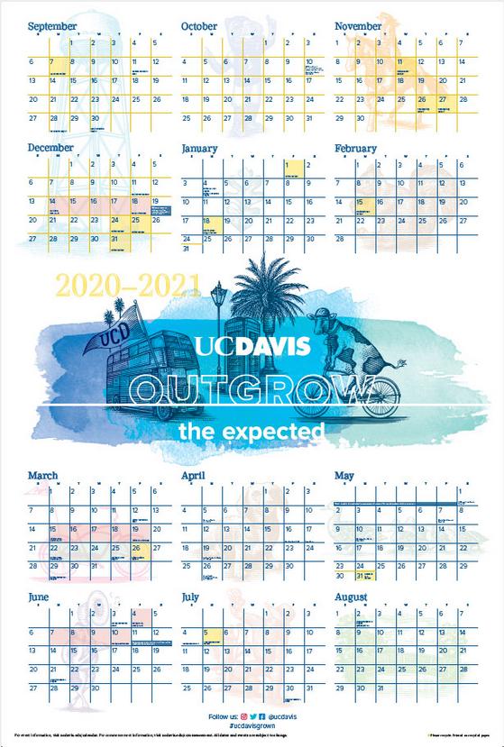 UC Davis Campus Calendar for Academic Year 2020-2021