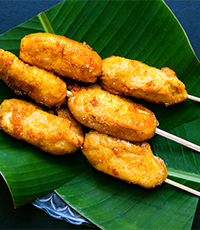 fried bananas on a stick