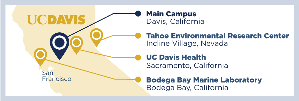 a map showing the different locations of uc davis throughout northern california