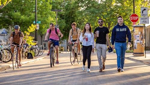 students walking in downtown Davis