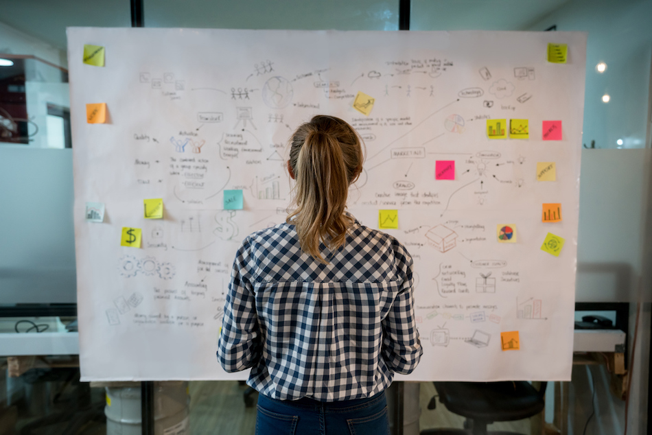Woman sketching a business plan at a creative office.