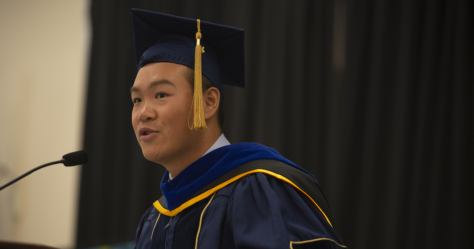 Zidong Li, a PhD candiate, speaks to the students during the International Student Graduation Celebration on June 14. 2018. (Gregory Urquiaga/UC Davis)