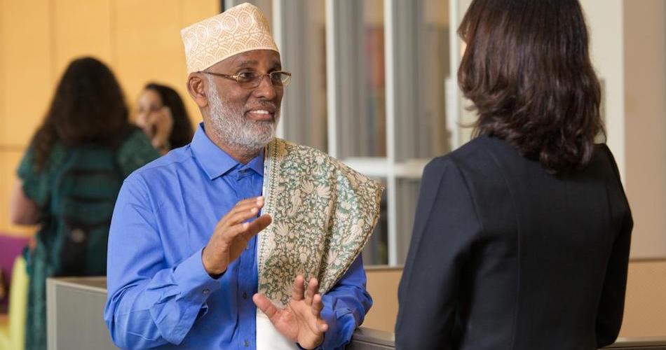 2017-18 UC Davis Humphrey Fellow Abdi Ahmed Mohamed, from Somalia, on campus at the International Center. TJ Ushing/UC Davis