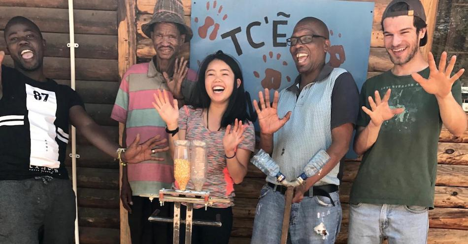 Stephanie Lew, environmental science and management alumna and former Blum Center Fellow, working on an agricultural design project in Botswana. Courtesy of Stephanie Lew
