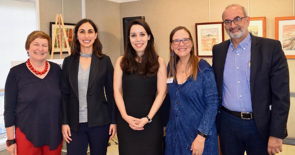 UC Davis Global Affairs Leadership with two 2017-18 UC Davis Humphrey Fellows Fernanda Gonzalez (Ecuador), Laila Annouri (Morocco). Bonnie Shea/UC Davis