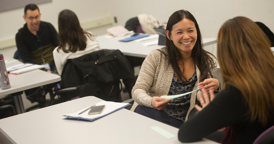5.Hong Dao, Student affairs officer for the College of Agricultural and Environmental Sciences participates in a role playing exercise during a Professional Development workshop for academic advisers in Hoagland Hall on Novemeber22, 2016. Karin Higgins/UC Davis