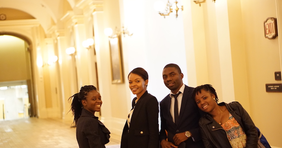 Tene Goodwin (second from left) during a site visit to the California State Capitol in Sacramento with UC Davis Mandela Washington Fellows Shakira Phiri (left), Likando Nabuyanda (second from right), and Victorine Dawonou (right).