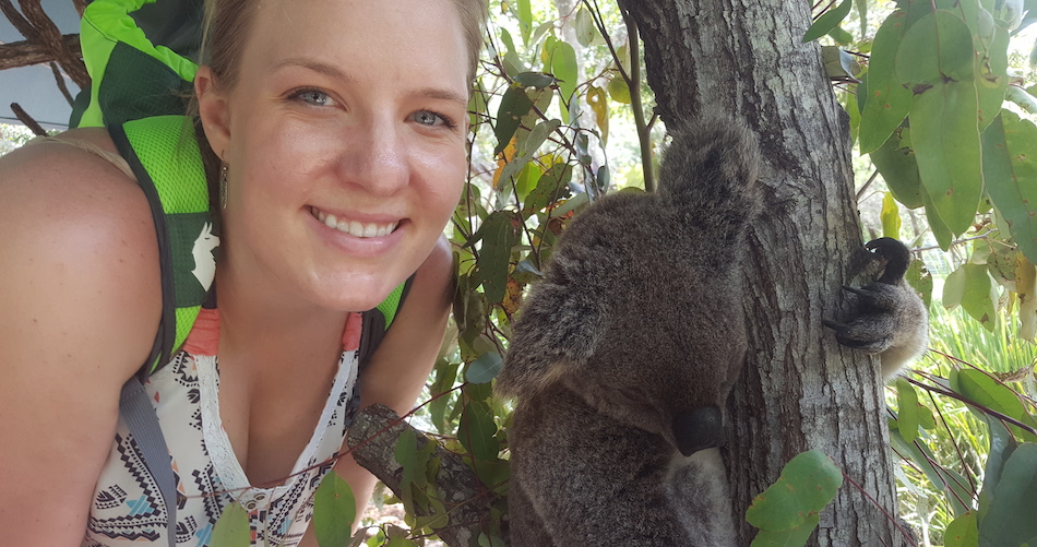 Katie Dahlhausen in Australia with a koala.