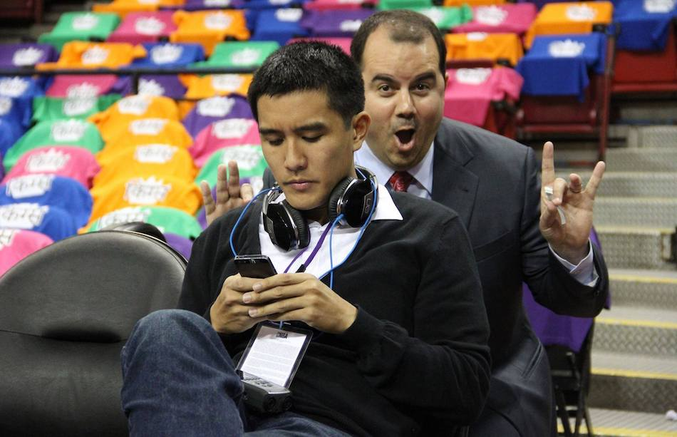 Pregame fun with fellow UC Davis alum and Sacramento Kings broadcaster Jason Ross.