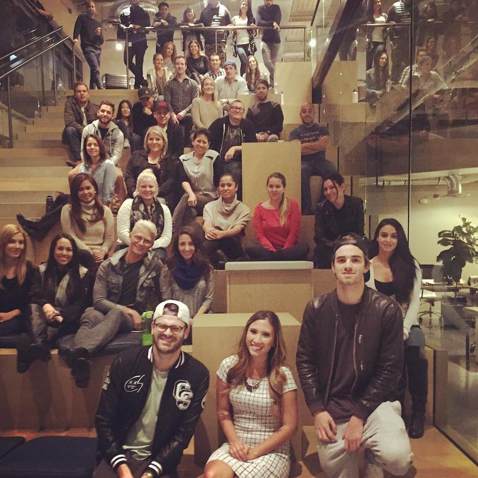 At the Hakkasan Group Office in Las Vegas with GRAMMY-award winning artists The Chainsmokers. (I'm wearing a hat further up the staircase)