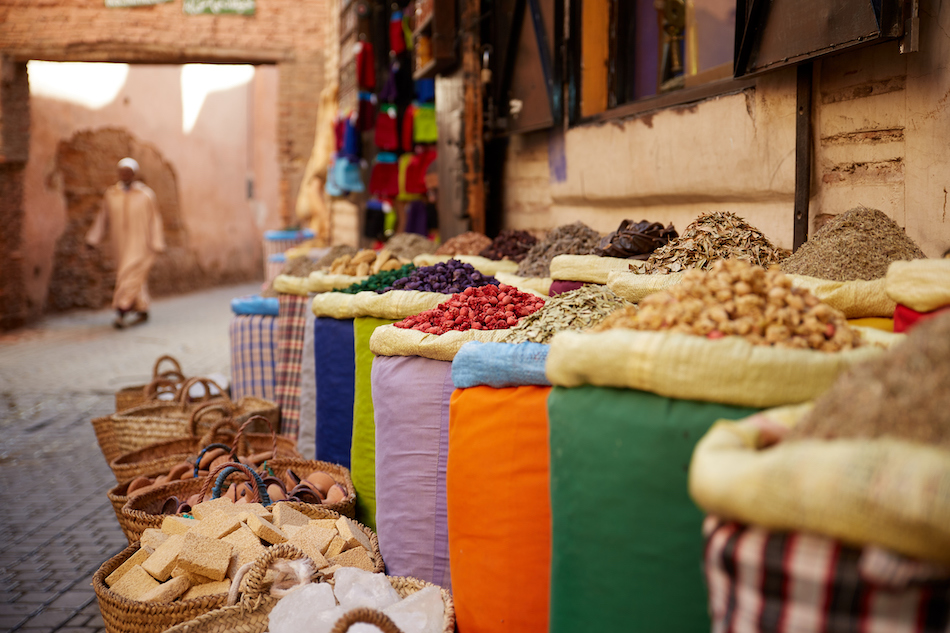 Spices in sacks in a marketplace.
