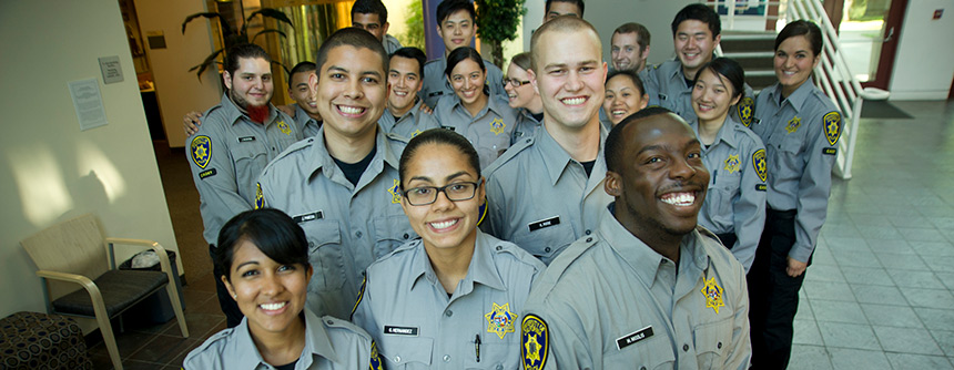 A number of graduating cadets in the UC Davis police cadet