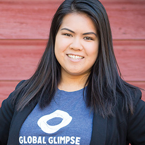 Portrait of Felicia Ong in a Global Glimpse T-shirt