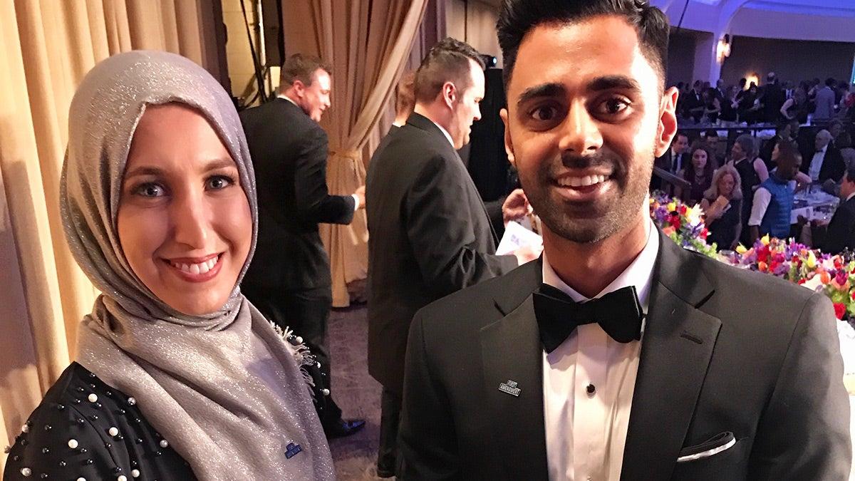 International relations major Sawsan Morrar with a fellow scholarship winner