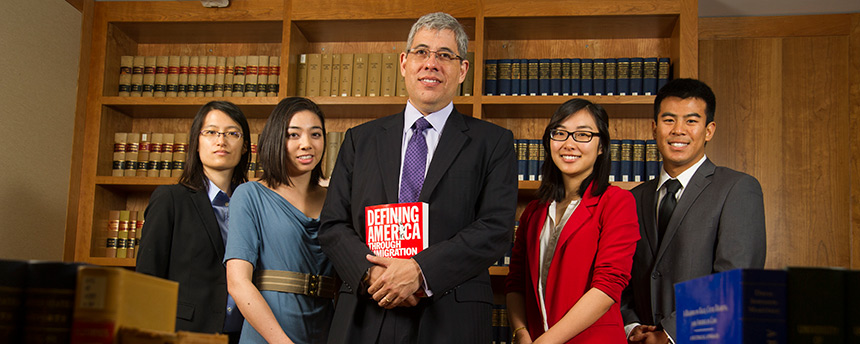 UC Davis law students gather for a photo with their professor, Jack Chin