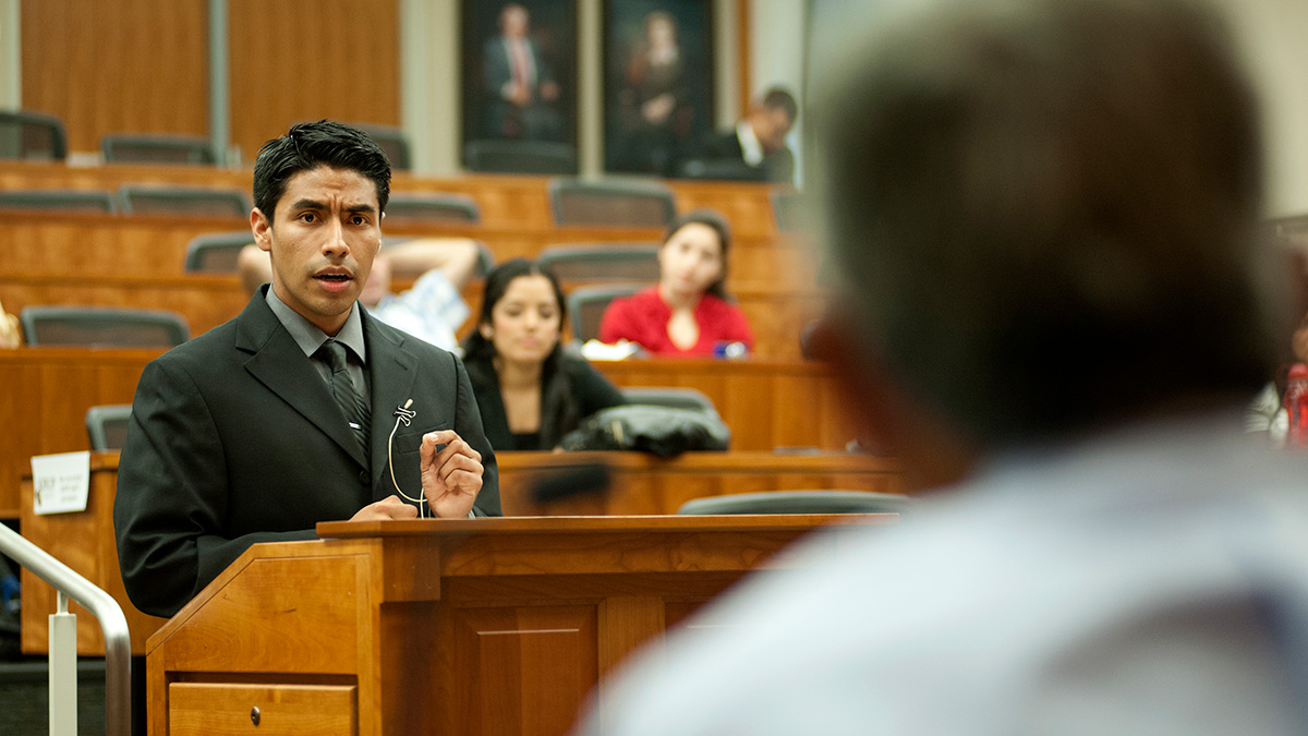 Miguel Zavala, participant in the King Hall Law Outreach Program, arguing in a mock trial
