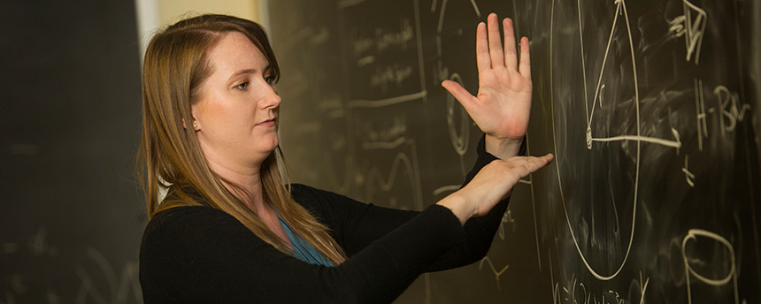 Rachel Houtz, a doctoral candidate in physics at UC Davis, teaching