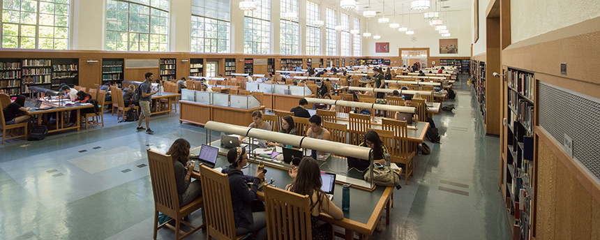 UC Davis Shields Library Reading Room filled with studying students