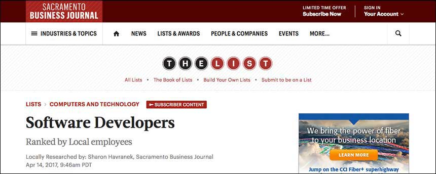 Screenshot of Sacramento Business Journal jobs list title page