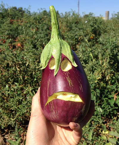 Eggplant with a face carved into it