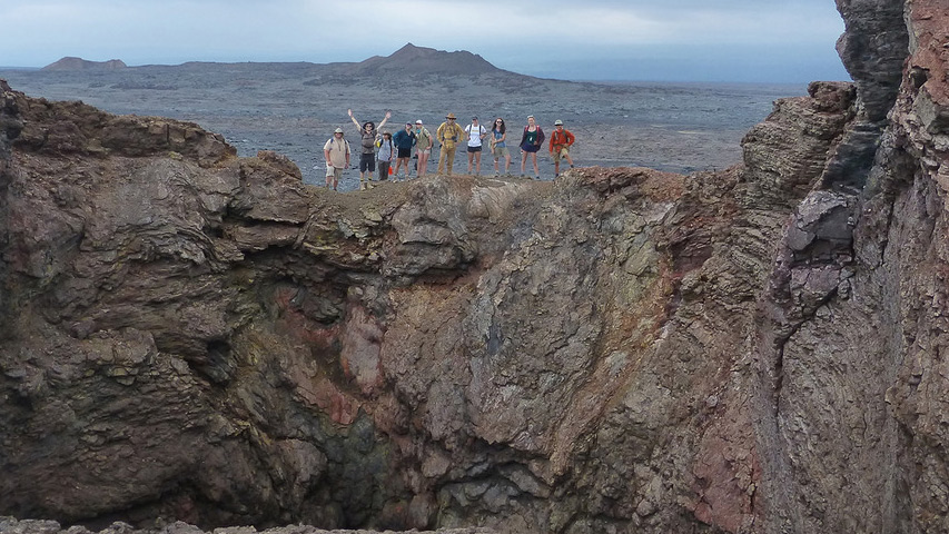 Several geology students from UC Davis on the rim of a collapsed cone on the Kilauea volcano in Hawaii