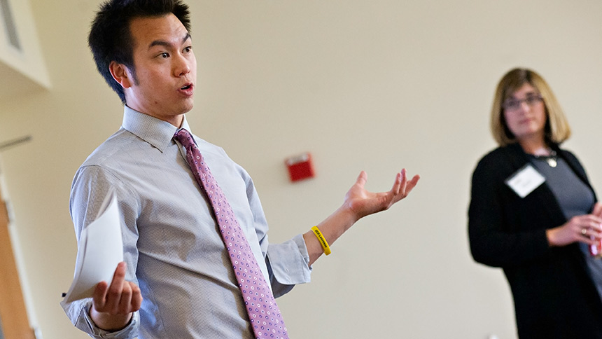 UC Davis student Don Ho making a presentation to a business group
