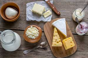A display on dairy products on a table