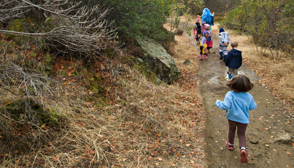 A safe hike in the foothills with many small children