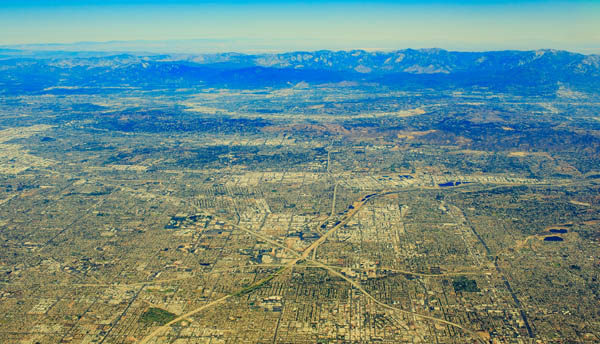 Aerial view of Southern California roads and urbanized habitat