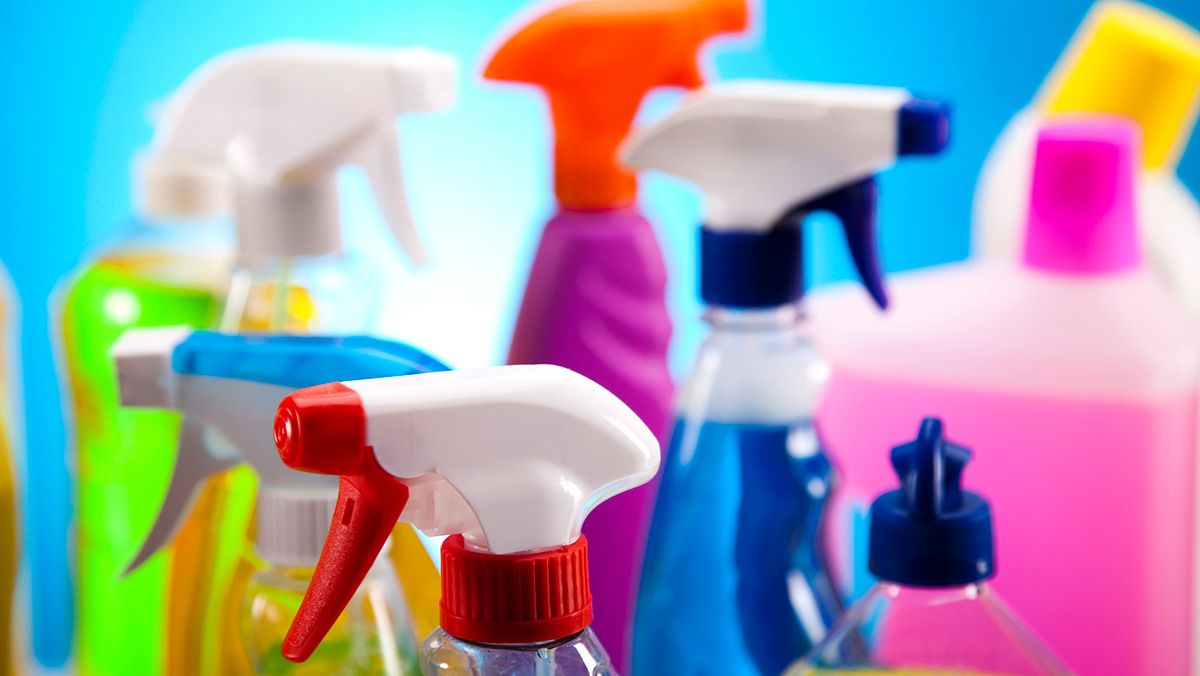 a bunch of holdhold cleaners in colorful bottles