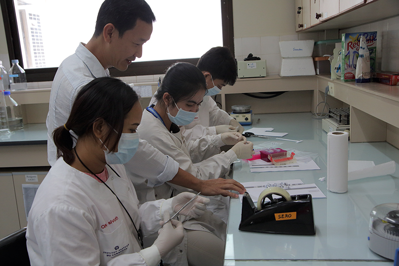 Lab technicians with PREDICT-Cambodia