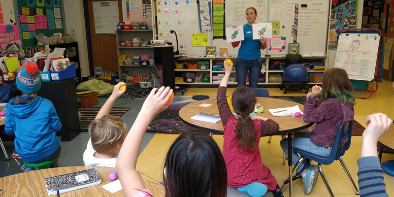 Dr. Deborah Thomson teaching elementary students about One Health