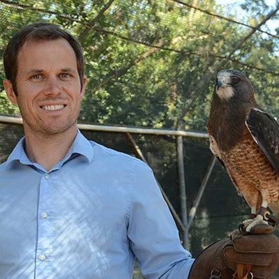 Justin Cox with hawk on glove