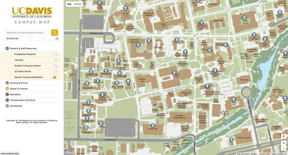NEWS BRIEFS: Gender-Inclusive Restrooms on Campus Map | UC ... Uc Davis Campus Map