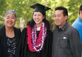 international student and parents at graduational
