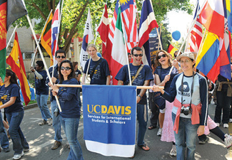 students taking part in an international student parade