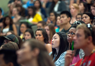 a diverse group of students attending a lecture