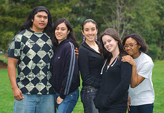 group of native american students posing for picture