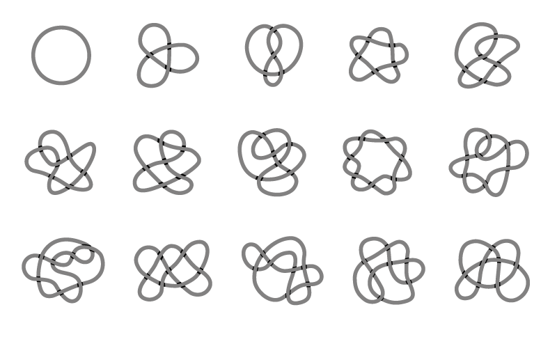 various knots used in knot theory