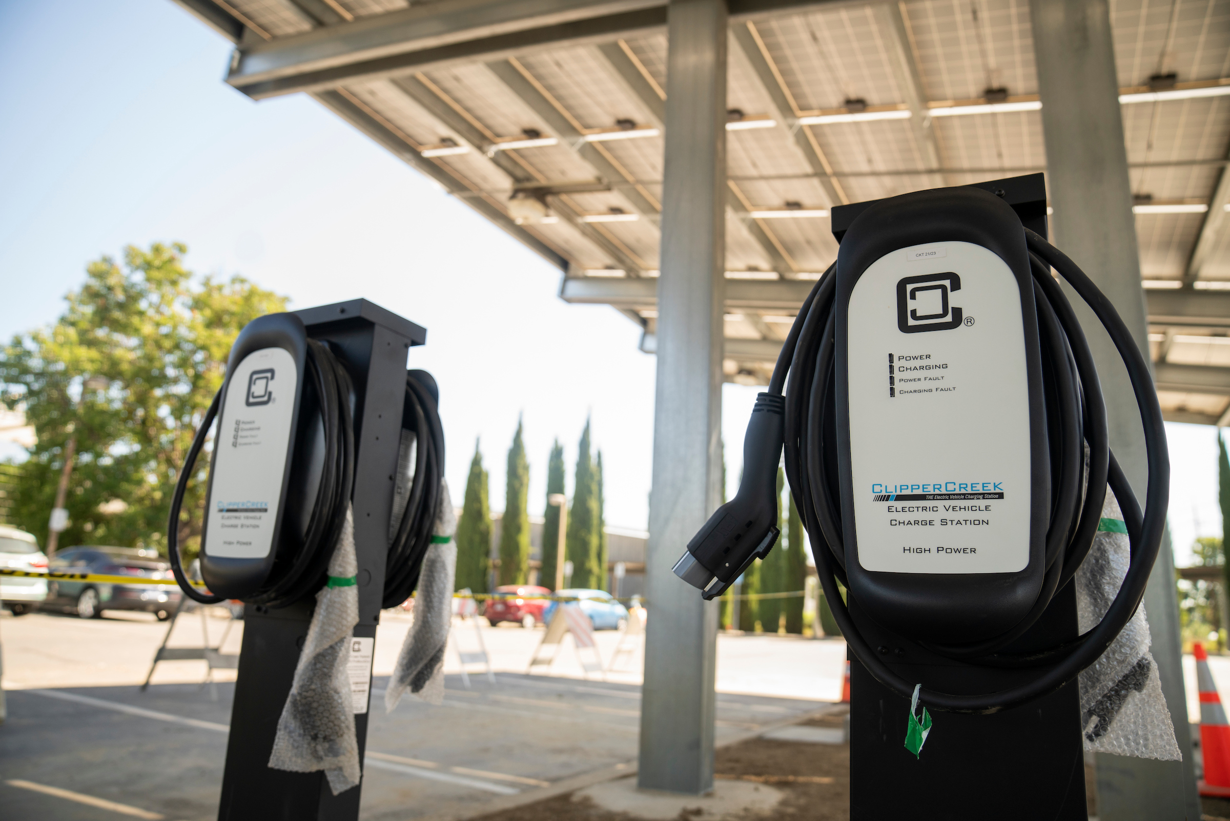 two electric chargers in UC Davis parking lot