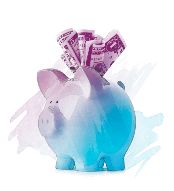 A colorful piggy bank with money sticking out of the top