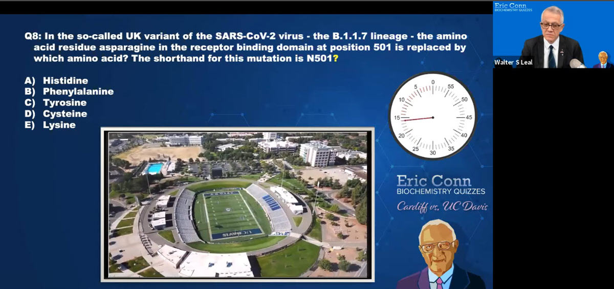 Biochemistry quiz screenshot shows question and aerial view of UC Davis Health Stadium.